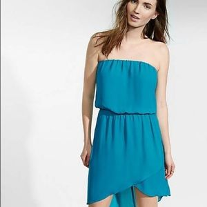 Express Teal/Turquoise Strapless Hi-lo Dress